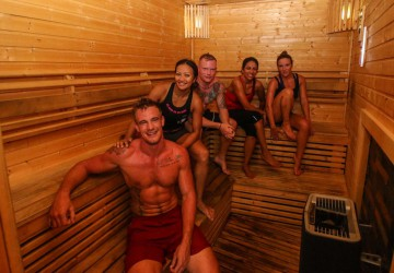 Customers in the Swedish Sauana at Unit 27 Gym in Phuket, Thailand